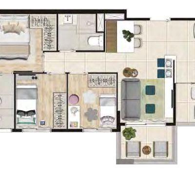Viva Benx Santana - Planta 55m² - 3 dormitórios