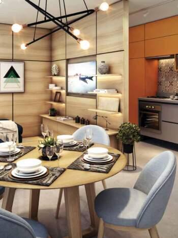 Viva Benx Tatuapé - Perspectiva 34m² - 1 dormitório com living ampliado