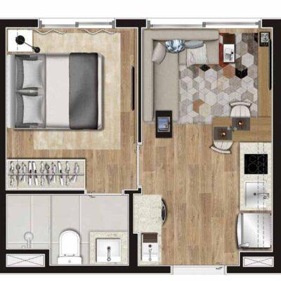 Viva Benx Tatuapé - Planta 24m² - 1 dormitório