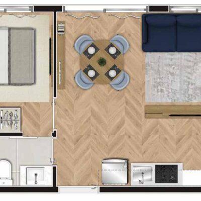 Viva Benx Tatuapé - Planta 34m² - 1 dormitório