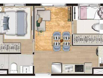 Viva Benx Tatuapé - Planta 34m² - 2 dormitórios