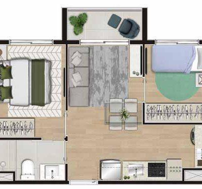 Viva Benx Tatuapé - Planta 37m² - 2 dormitórios com varanda