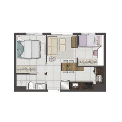 Viva Benx Vila Mascote - Planta de 34m² - 2 dormitórios