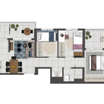 Viva Benx Vila Mascote - Planta de 55m² - 3 dormitórios