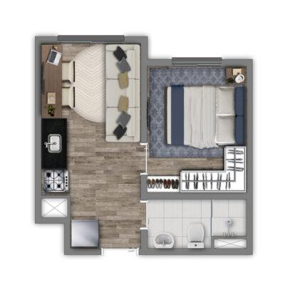 Vivaz Estação Guaianazes - Planta 24m² - 1 dormitório