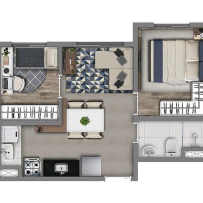 Vivaz Estação Guaianazes - Planta 33m² - 2 dormitórios