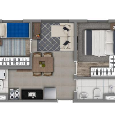 Vivaz Estação Guaianazes - Planta 34m² - 2 dormitórios