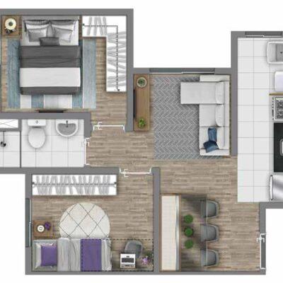 Vivaz Estação Itaquera - Planta 41m² - 2 dormitórios