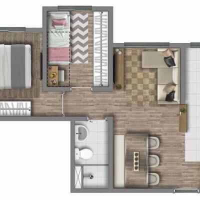 Vivaz Estação Itaquera - Planta 43m² - 2 dormitórios