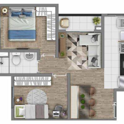 Vivaz Estação Itaquera - Planta 43m² - 2 dormitórios com Varanda