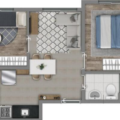 Vivaz Lapa - Planta 34m² - 2 dormitórios