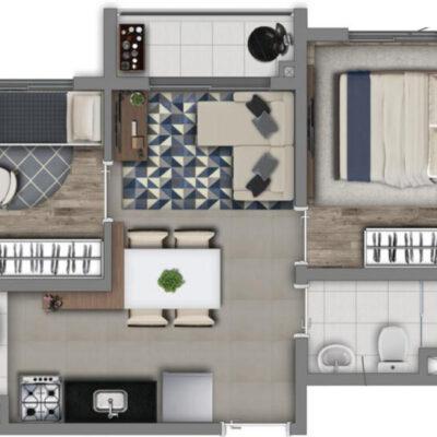 Vivaz Lapa - Planta 36m² - 2 dormitórios com Varanda