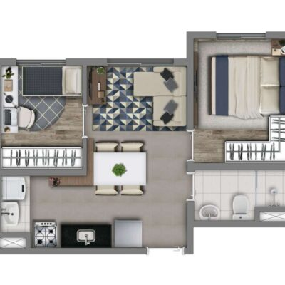 Vivaz Vila Guilherme - Planta 34m² - 2 dormitórios