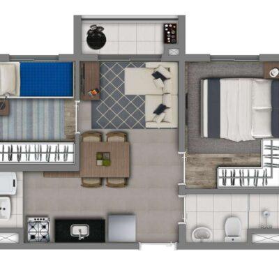 Vivaz Vila Guilherme - Planta 36m² - 2 dormitórios com Varanda
