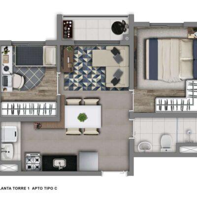 Vivaz Vila Guilherme - Planta 36m² - 2 dormitórios