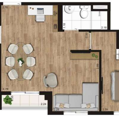 Kz Radial Planta 43m 1 Dormitorio