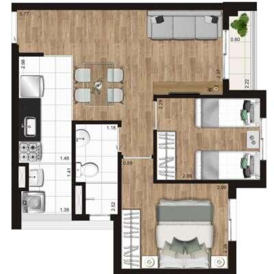 Kz Radial Planta 45m 2 Dormitorios