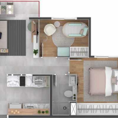 Bracon Ipiranga - Planta 36m² - 2 Dormitórios - Decorado