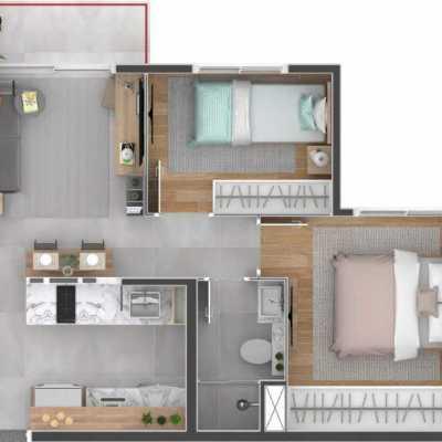 Bracon Ipiranga - Planta 36m² - 2 Dormitórios