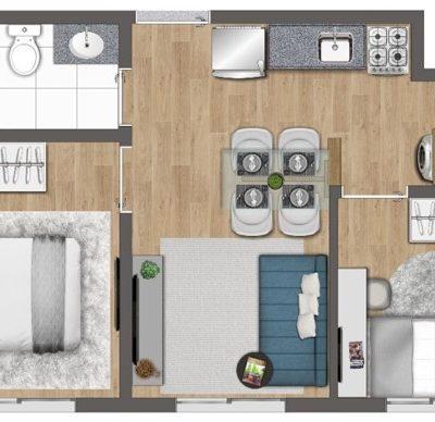 Quaddra Butantã - Planta 33m² - 2 Dormitórios