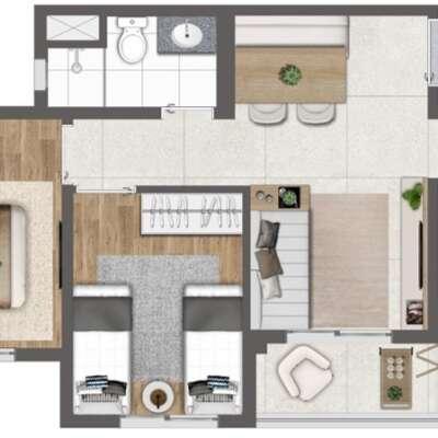Quaddra Butantã - Planta 44m² - 2 Dormitórios