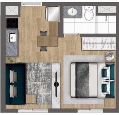 Quaddra Butantã - Planta 24m² Studio