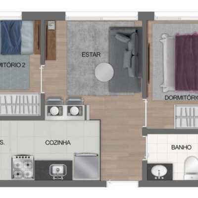 Fit Casa José Bonifácio - Planta 35m² - 2 Dormitório