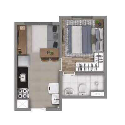 Meu Mundo Estação Mooca - Planta 24m² - 1 Dormitório