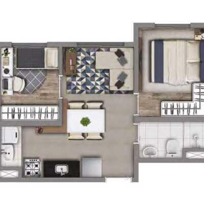 Meu Mundo Estação Mooca - Planta 33m² - 2 Dormitórios