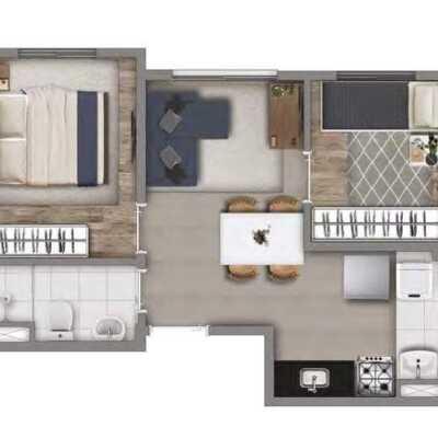 Meu Mundo Estação Mooca - Planta 34m² - 2 Dormitórios