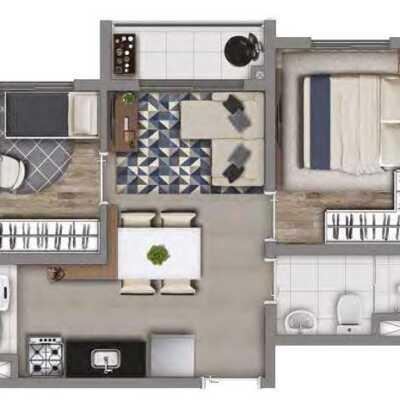 Meu Mundo Estação Mooca - Planta 36m² - 2 Dormitórios