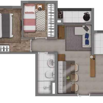 Vivaz Cantareira - Planta 40m² - 2 Dormitórios