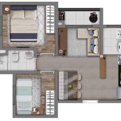 Vivaz Cantareira - Planta 41m² - 2 Dormitórios