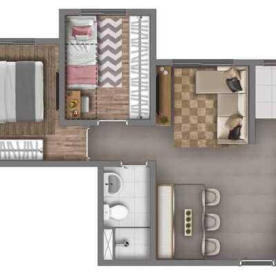 Vivaz Cantareira - Planta 43m² - 2 Dormitórios