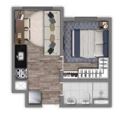 Vivaz Estação Belém - Planta 24m² - 1 Dormitório
