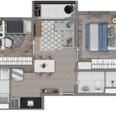 Vivaz Estação Belém - Planta 37m² - 2 Dormitórios