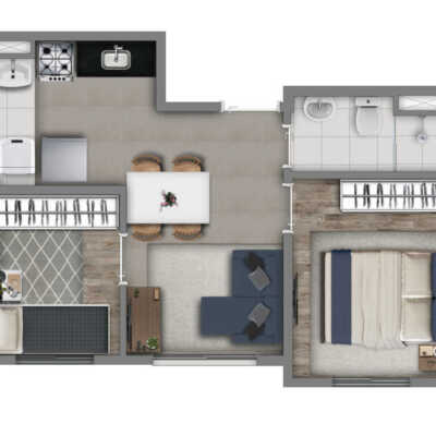 Vivaz Socorro - Planta 34m² - 2 Dormitórios