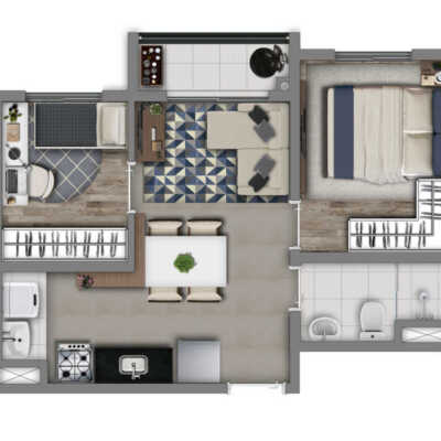 Vivaz Socorro - Planta 36m² - 2 Dormitórios