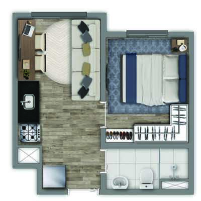 Vivaz Estação Vila Prudente - Planta 24m² - 1 Dormitório