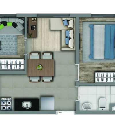 Vivaz Estação Vila Prudente - Planta 32m² - 2 Dormitórios