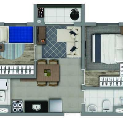 Vivaz Estação Vila Prudente - Planta 36m² - 2 Dormitórios com Varanda