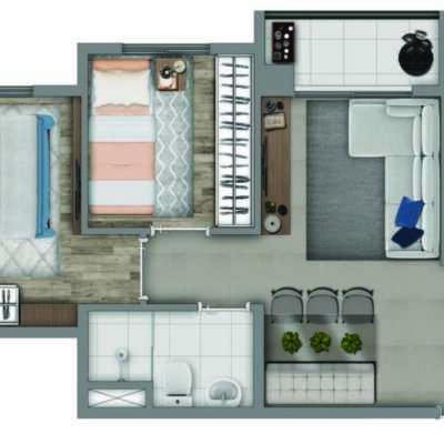 Vivaz Estação Vila Prudente - Planta 41m² - 2 Dormitórios