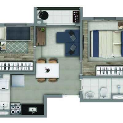 Vivaz Vila Romana - Planta 36m² - 2 Dormitórios