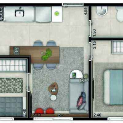 Influence Ipiranga - Planta 35m² - 2 Dormitórios