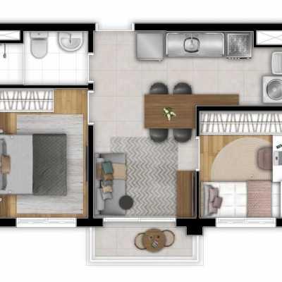 Station Bresser Planta 38m 2 Dormitorios