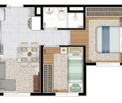 Plano Estação Santo Amaro - Planta 32m², 2 Dormitórios