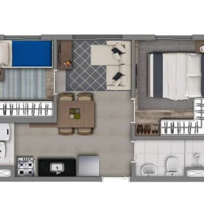 Vivaz Estação Santa Marina - Planta 34m², Smart Tipo 1