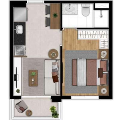 Zoom Santa Cecilia - Planta 28m², 1 Suíte Residencial