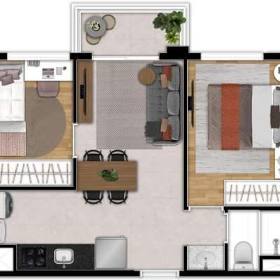 Zoom Santa Cecilia - Planta 38m², 2 Dormitórios Residencial