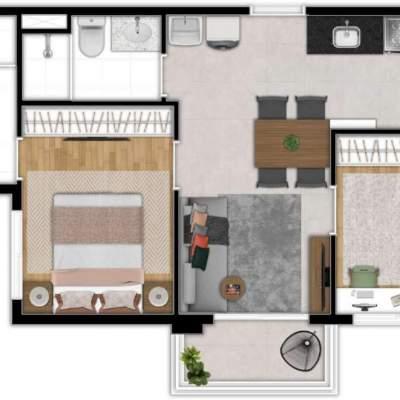 Zoom Santa Cecilia - Planta 42m², 2 Dormitórios Residencial